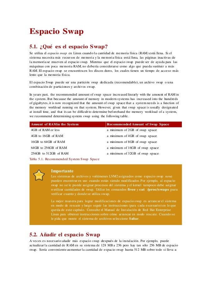 Espacio Swap 5.1. ¿Qué es el espacio Swap? Se utiliza el espacio swap en Linux cuando la cantidad de memoria física (RAM) ...