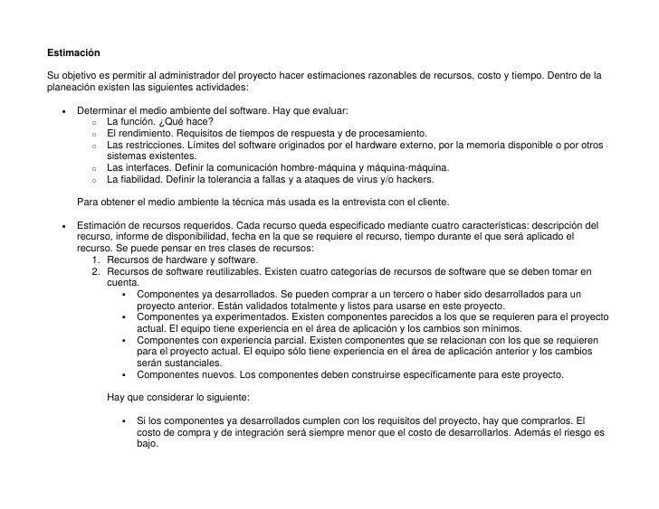 Estimacion de Proyectos, Ingeniería de Software