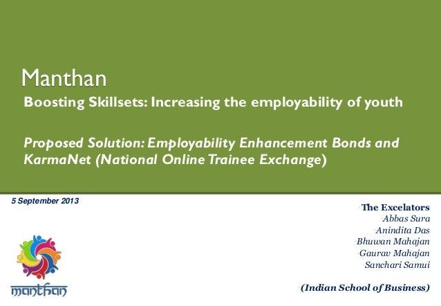 5 September 2013 Manthan Boosting Skillsets: Increasing the employability of youth Proposed Solution: Employability Enhanc...