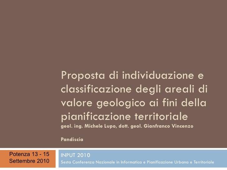Proposta di individuazione e classificazione degli areali di valore geologico ai fini della pianificazione territoriale, d...