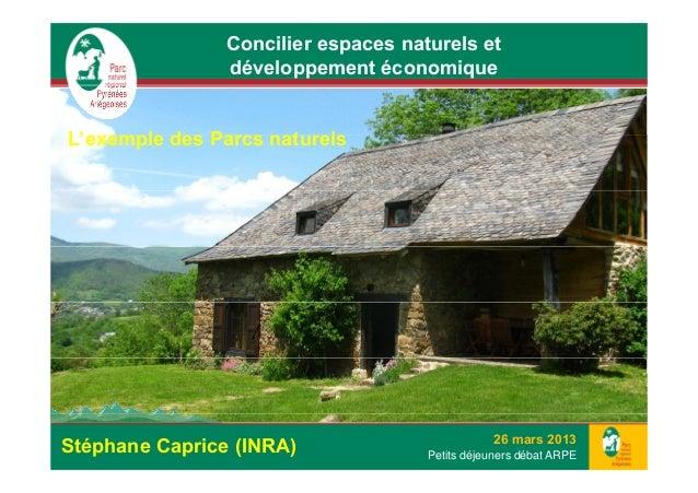 Concilier espaces naturels et                développement économiqueL'exemple des Parcs naturelsL'     l d P          t  ...