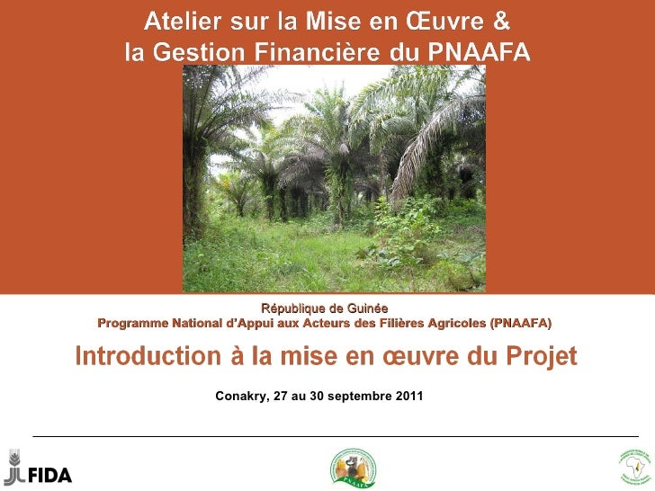 République de Guinée  Programme National d'Appui aux Acteurs des Filières Agricoles (PNAAFA)  Conakry, 27– 30 septembre 20...