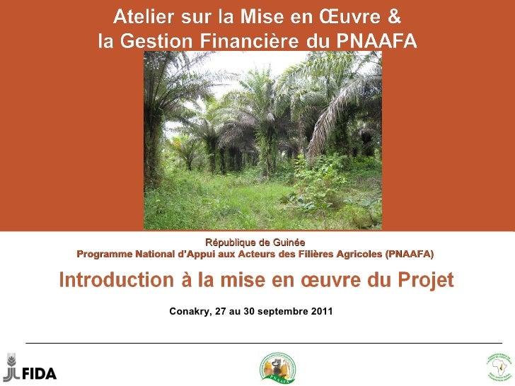 Introduction à la mise en œuvre du Projet (PNAAFA)