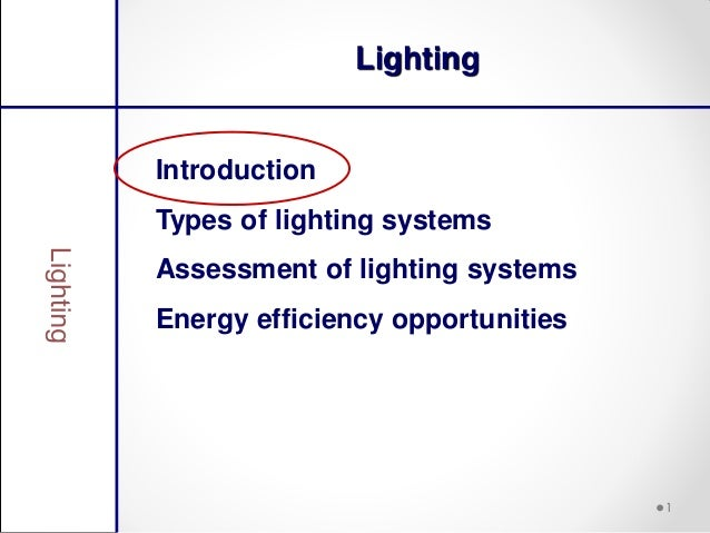 LightingIntroductionTypes of lighting systemsAssessment of lighting systemsEnergy efficiency opportunities                ...