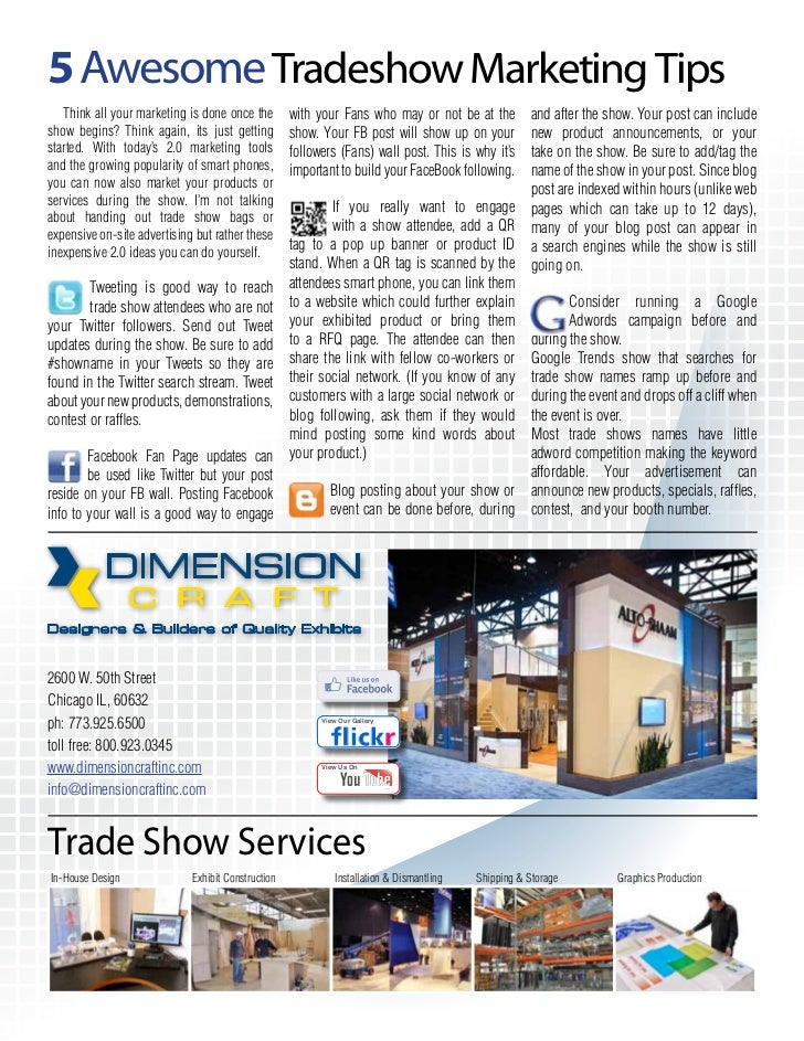 5 Awesome Tradeshow Marketing Tips   Think all your marketing is done once the        with your Fans who may or not be at ...