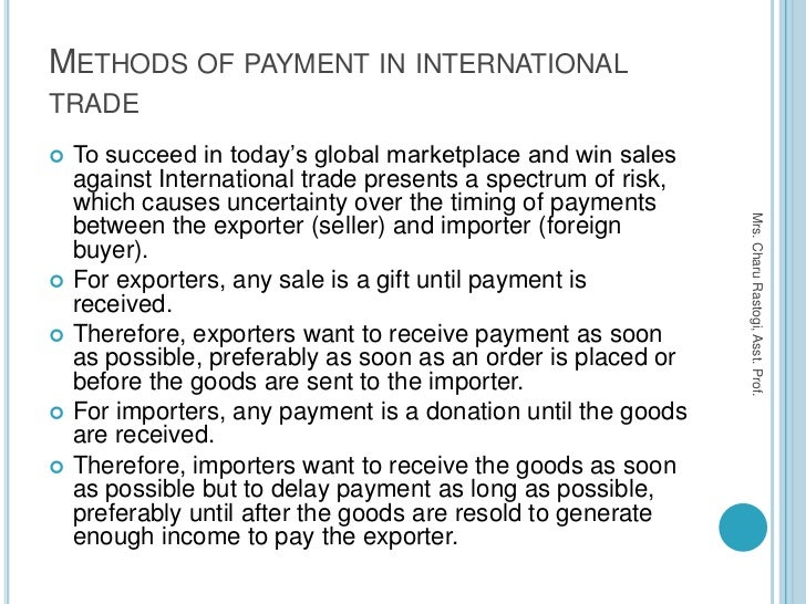 methods of payment in international trade Chapter 1: methods of payment in international trade this chapter is also  available via download in pdf format to succeed in today's global.