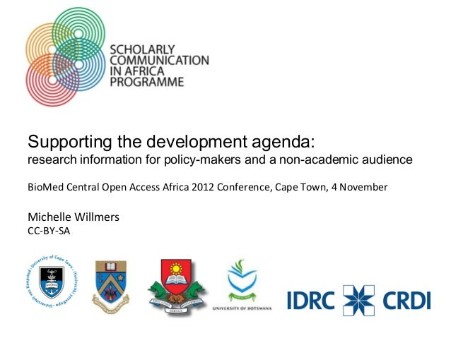 OAA12 - Supporting the development agenda: Research information for policy-makers and a non-academic audience.