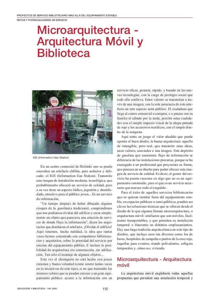 PROYECTOS DE SERVICIO BIBLIOTECARIO MÁS ALLÁ DEL EQUIPAMIENTO ESTABLERETOS Y POTENCIALIDADES DE SERVICIO                Mi...