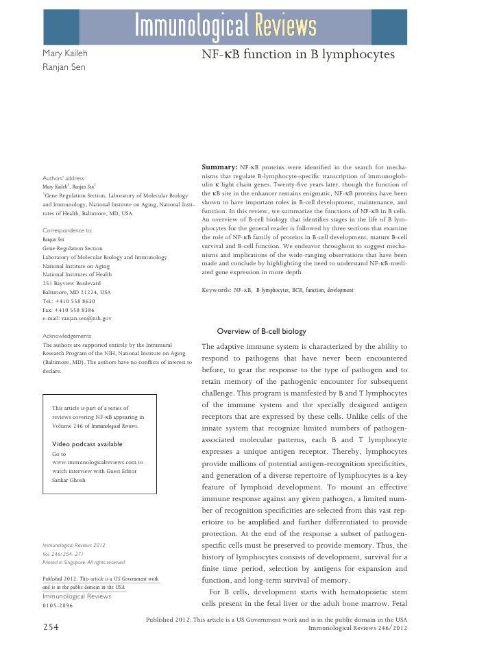Mary Kaileh                                                      NF-jB function in B lymphocytesRanjan Sen                ...