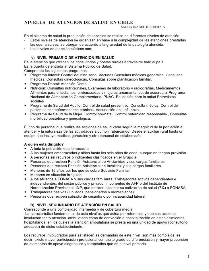 NIVELES DE ATENCION DE SALUD EN CHILE                                                          MARIA ISABEL HERRERA AEn el...