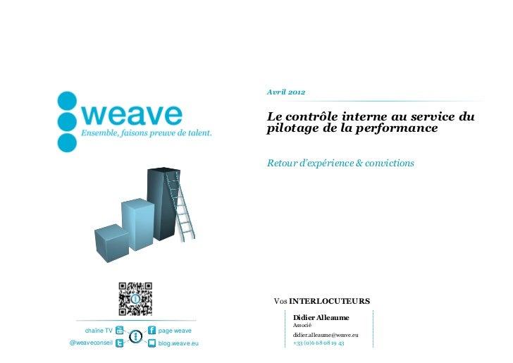 [weave] Risk and Compliance - Le contrôle interne au service du pilotage de la performance