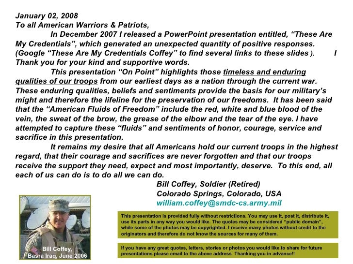 """January 02, 2008 To all American Warriors & Patriots, In December 2007 I released a PowerPoint presentation entitled, """"The..."""