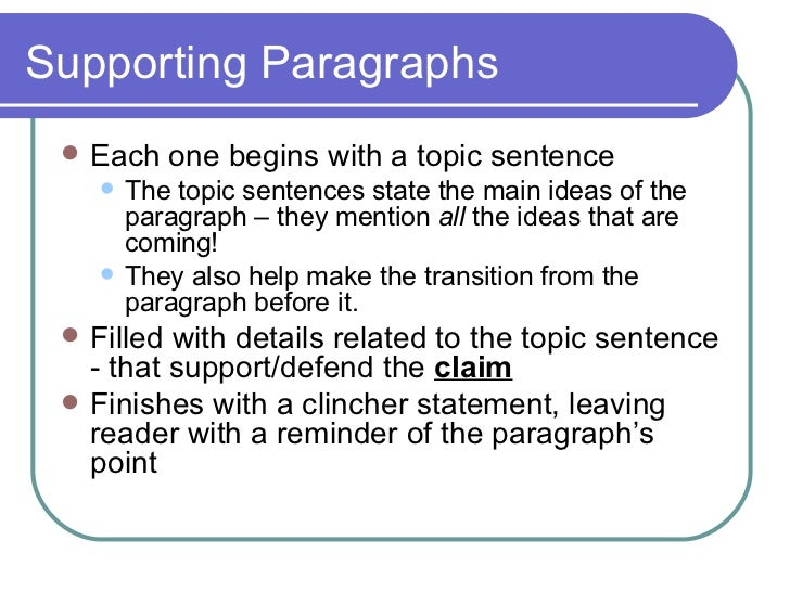 How many supportive paragraphs is in an essay?
