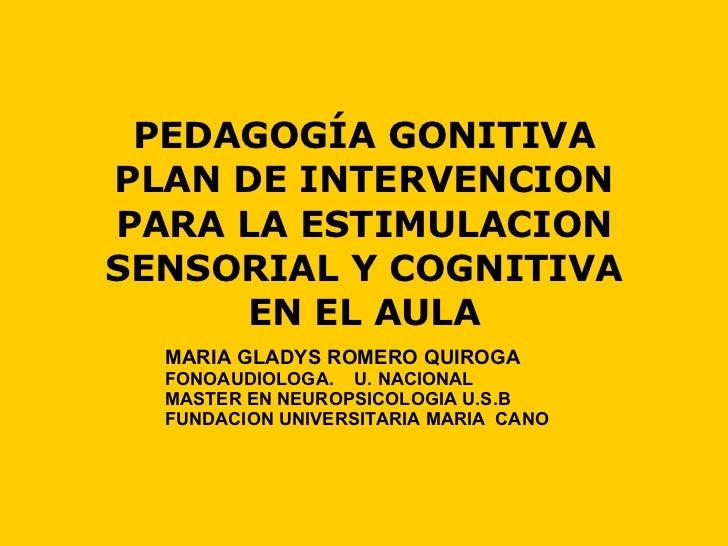 PEDAGOGÍA GONITIVA PLAN DE INTERVENCION PARA LA ESTIMULACION SENSORIAL Y COGNITIVA EN EL AULA MARIA GLADYS ROMERO QUIROGA ...