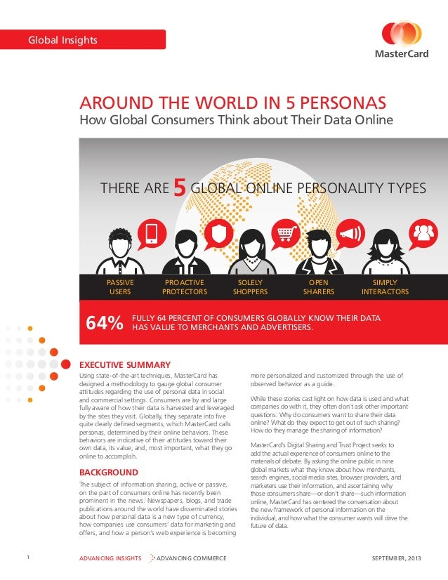 Global Insights  AROUND THE WORLD IN 5 PERSONAS  How Global Consumers Think about Their Data Online  THERE ARE  PASSIVE US...