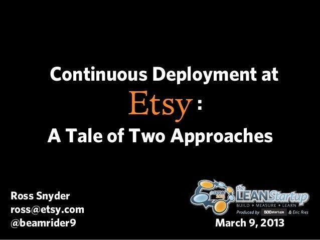 Ross Snyder, Etsy, SXSW Lean Startup 2013