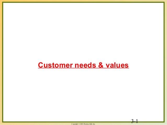 3-1Copyright © 2003 Prentice-Hall, Inc. Customer needs & values