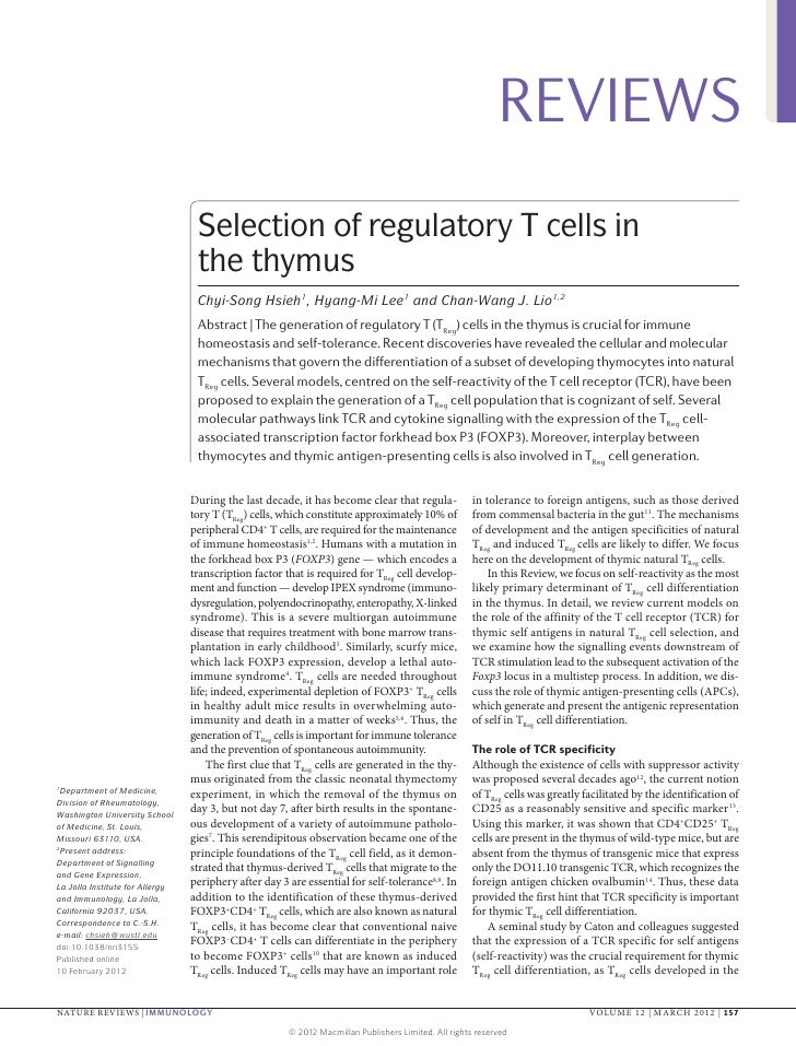 REVIEWS                                  Selection of regulatory T cells in                                  the thymus   ...