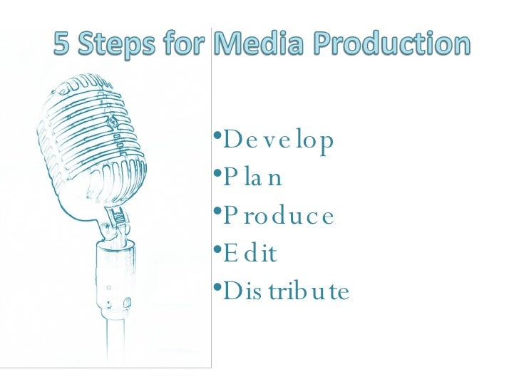 <ul><li>Develop </li></ul><ul><li>Plan </li></ul><ul><li>Produce </li></ul><ul><li>Edit </li></ul><ul><li>Distribute </li>...