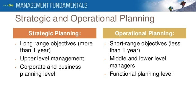 strategic and operational plans based on Strategic management is the formulation and implementation of the major goals and initiatives taken by a company's top management on behalf of owners, based on consideration of resources and an assessment of the internal and external environments in which the organization competes.
