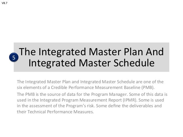 The	   Integrated	   Master	   Plan	   And	    Integrated	   Master	   Schedule	    The	   Integrated	   Master	   Plan	  ...