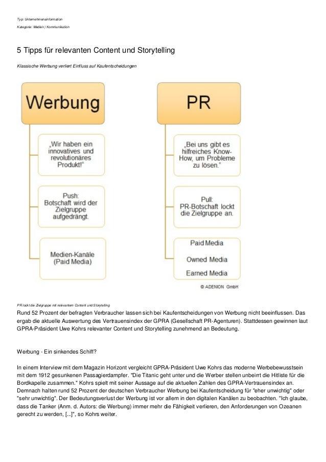 Typ: Unternehmensinformation Kategorie: Medien | Kommunikation 5 Tipps für relevanten Content und Storytelling Klassische ...
