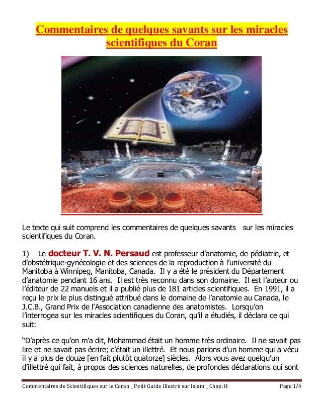 Commentaires de Scientifiques sur le Coran _ Petit Guide Illustré sur Islam _ Chap. H Page 1/4 Commentaires de quelques sa...