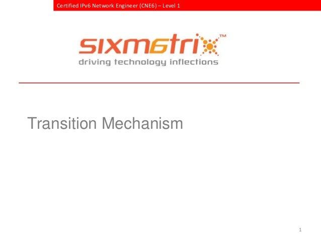 Certified IPv6 Network Engineer (CNE6) – Level 1Transition Mechanism                                                      1