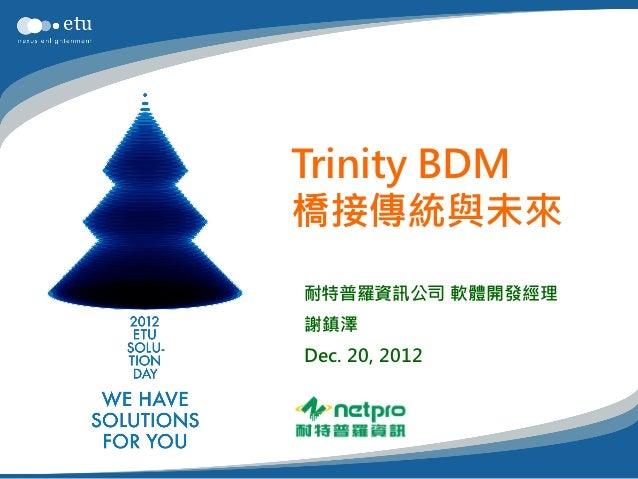 Trinity BDM橋接傳統與未來耐特普羅資訊公司 軟體開發經理謝鎮澤Dec. 20, 2012