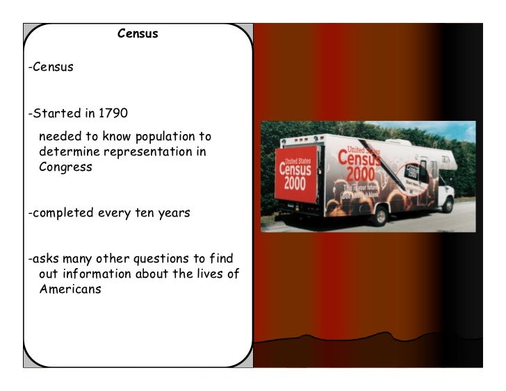Census-Census-Started in 1790 needed to know population to determine representation in Congress-completed every ten years-...