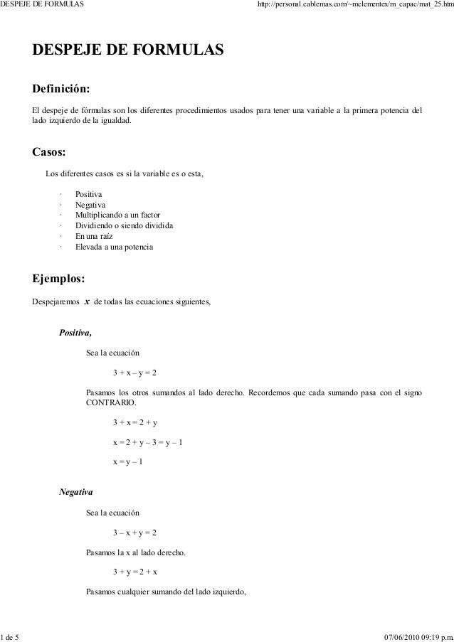 despeje de fórmulas