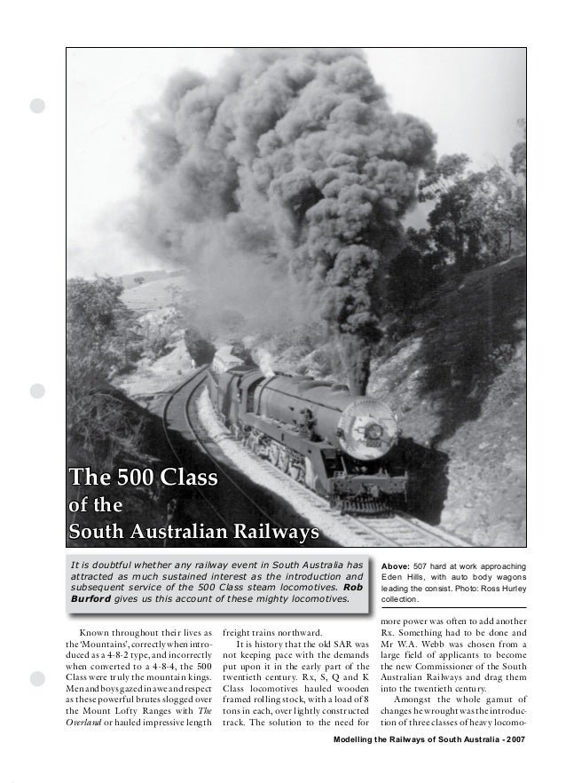 The Commonwealth Railways                  Streamliner EraThe 500 Classof theSouth Australian Railways It is doubtful whet...