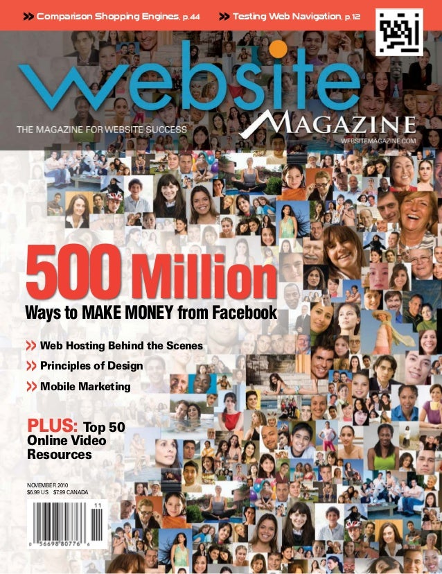 >> Comparison Shopping Engines, p.44   >> Testing Web Navigation, p.12500 MillionWays to MAKE MONEY from Facebook>> Web Ho...