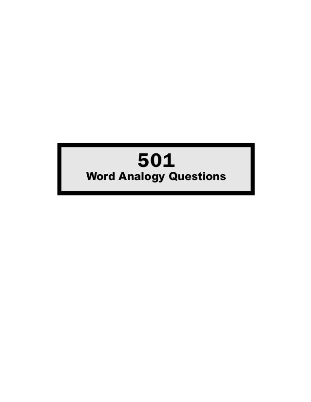 501Word Analogy Questions