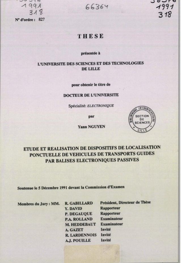 Soutenuele 5 Wembre 1991devant la Commission d'Examen Membresdu Jiq :MM* , R GABILLARD Y. DAVID P. DEGAUQUE P A ROLLAND M....
