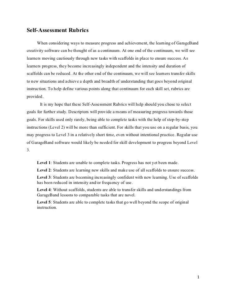 Self-Assessment Rubrics      When considering ways to measure progress and achievement, the learning of GarageBandcreativi...