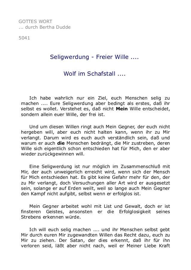 GOTTES WORT ... durch Bertha Dudde 5041 Seligwerdung - Freier Wille .... Wolf im Schafstall .... Ich habe wahrlich nur ein...