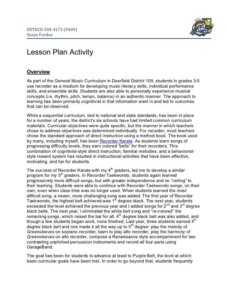EDTECH504‐4173(FA09)SusanFerdonLesson Plan ActivityOverviewAs part of the General Music Curriculum in Deerfield Dist...