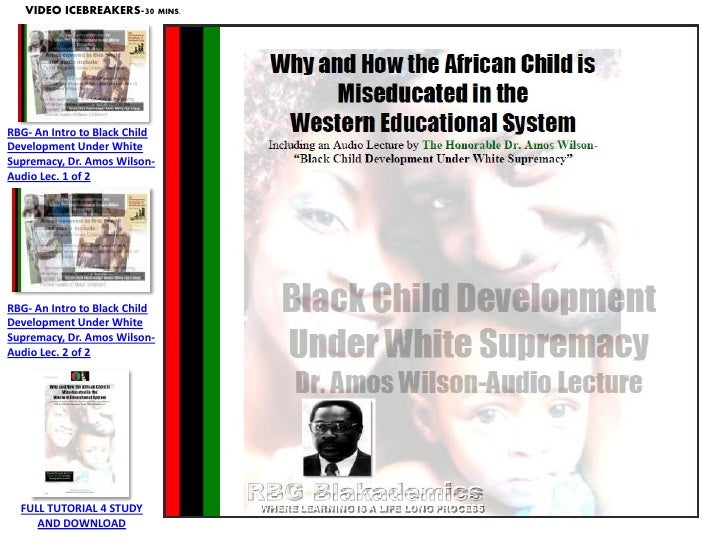 VIDEO ICEBREAKERS-30 MINS.RBG- An Intro to Black ChildDevelopment Under WhiteSupremacy, Dr. Amos Wilson-Audio Lec. 1 of 2R...