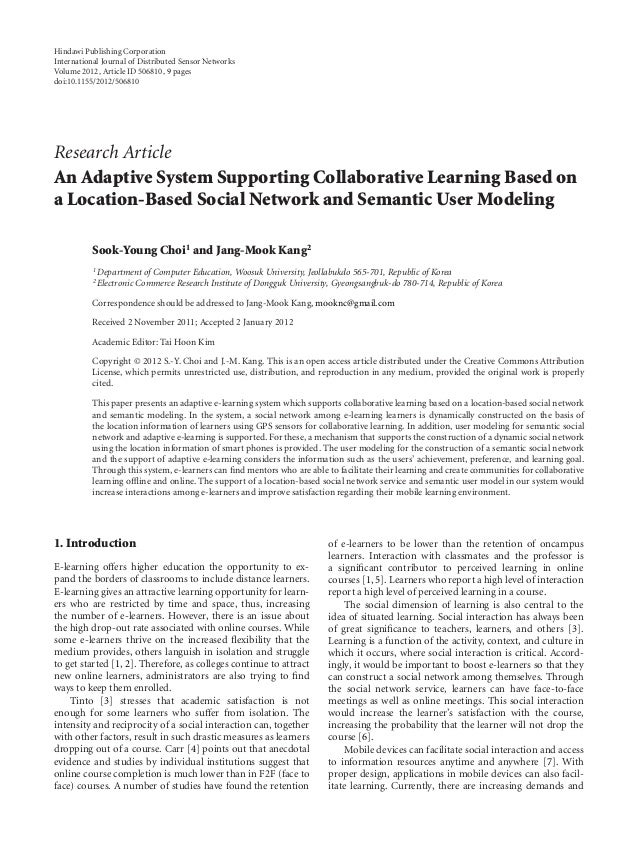 An Adaptive System Supporting Collaborative Learning Based on a Location-Based Social Network and Semantic User Modeling