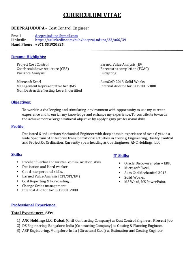 Cost engineer sample resume