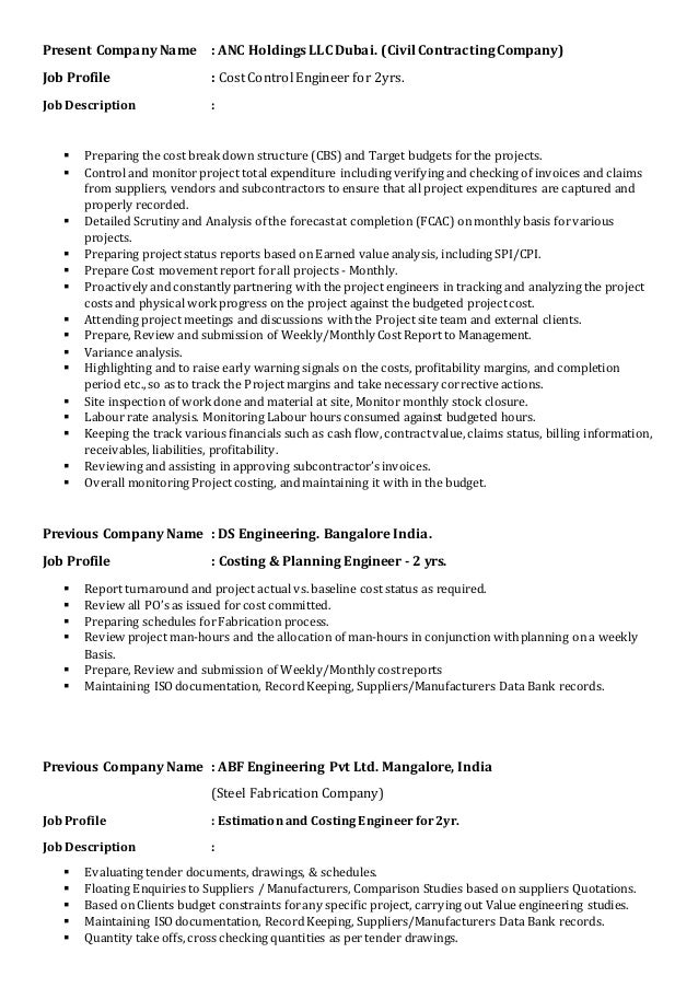 resume cost engineer deepraj udupa