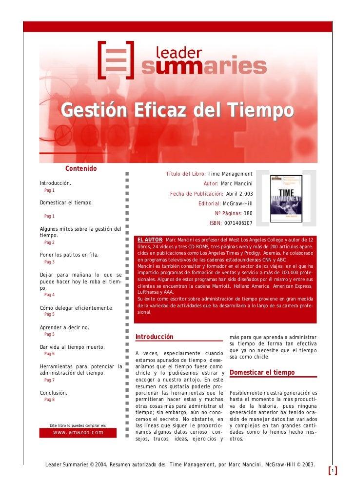 Gestión Eficaz del Tiempo            Contenido                                                    Título del Libro: Time M...