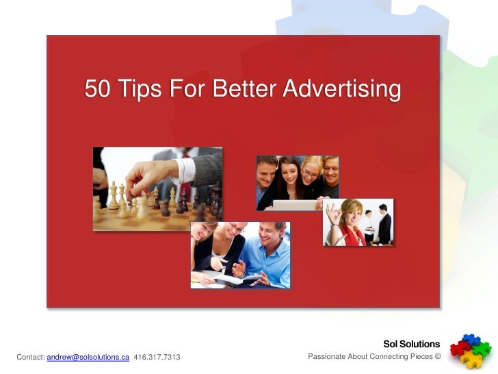 50 Tips For Better Advertising                                                                        Sol Solutions       ...