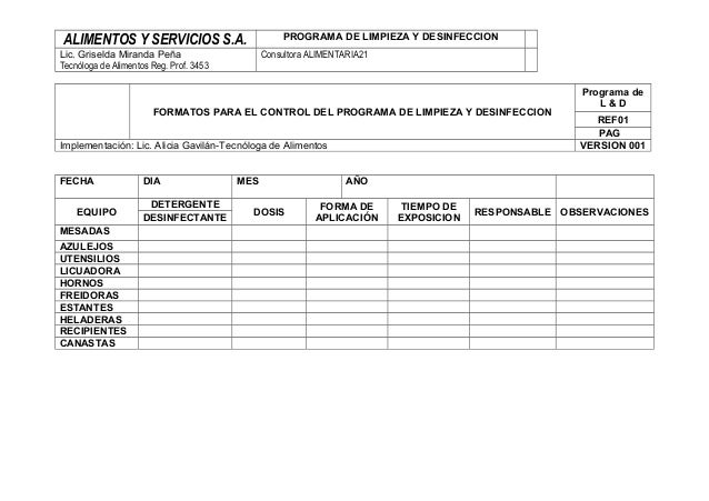 ALIMENTOS Y SERVICIOS S.A. PROGRAMA DE LIMPIEZA Y DESINFECCION Lic. Griselda Miranda Peña Tecnóloga de Alimentos Reg. Prof...