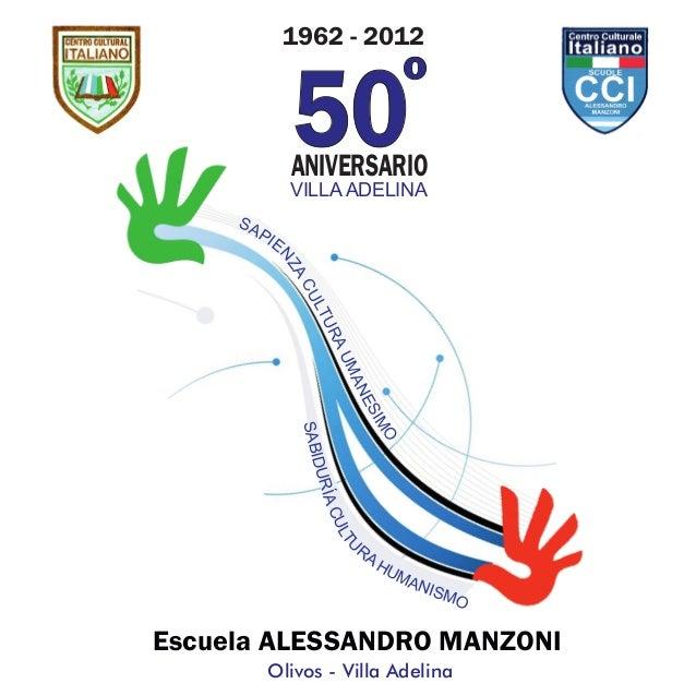 1962 - 2012 50ANIVERSARIO º Olivos - Villa Adelina Escuela ALESSANDRO MANZONI SAPIE NZACULTURAUMANESIMO SABIDURÍACULTU RA ...