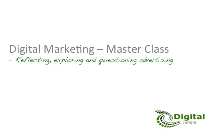 Online Advertising Master Class - Workshop on Advertising