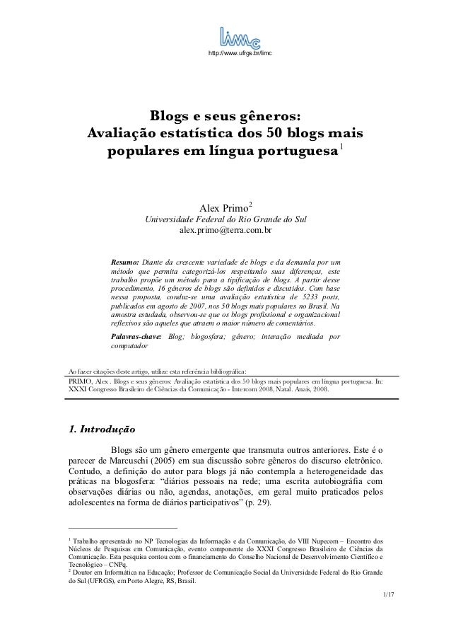 http://www.ufrgs.br/limc              Blogs e seus gêneros:      Avaliação estatística dos 50 blogs mais        populares ...