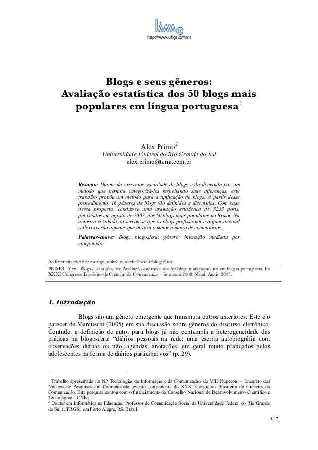 Blogs e seus gêneros: Avaliação estatística dos 50 blogs mais populares em língua portuguesa