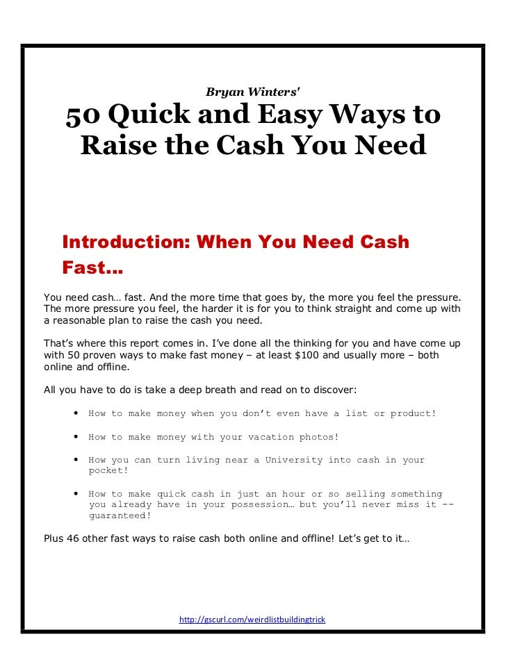 Bryan Winters' 50 Quick and Easy Ways to Raise the Cash You Need